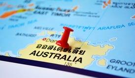 Australia map. Macro shot of australia map with push pin Stock Photo