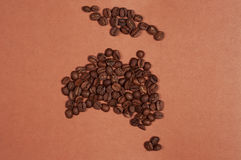 Australia map made of coffee beans Royalty Free Stock Image