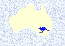 Australia map - cdr format. Australia map made from water drops with a blue kangaroo and stars Royalty Free Stock Photos