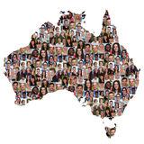 Australia map multicultural group of young people integration di Royalty Free Stock Images
