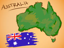 Australia Map and National Flag Vector royalty free illustration