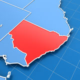 Australia map with New South Wales highlighted. 3d render of Australia map with New South Wales highlighted Stock Image