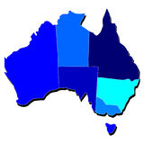 Australia Map Outline in Shades of Blue Royalty Free Stock Photos