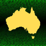 Australia map over binary code Royalty Free Stock Images