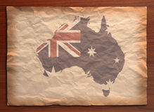 Australia map on paper craft. Australia Map with flag on recycle vintage paper craft Royalty Free Stock Photo