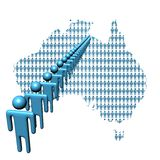 Australia map with people. Map of Australia made of people with line of abstract men Stock Photo