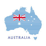 Australia map. Poster with blue stripes pattern, Australian flag isolated on white background. Australian map stropped wallpaper for Travel, Vacation royalty free illustration