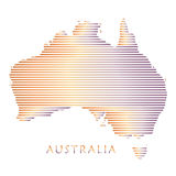 Australia map. Poster with stripped pattern isolated on white background. Australian map geometric stripes wallpaper for Travel, Vacation, Advertising, Web Stock Photo