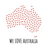 Australia Map with red hearts - symbol of love. abstract background. Australia Map with red hearts- symbol of love. abstract background with text We Love Stock Photo