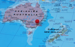 Australia  map. Australia map  and red pointer Royalty Free Stock Images