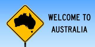 Australia map on road sign. Stock Photos