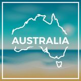Australia map rough outline against the backdrop. Royalty Free Stock Images