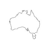 Australia map silhouette. Illustration on the white background. Vector illustration Royalty Free Stock Photos