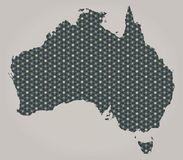 Australia map with stars and ornaments including country borders Stock Photo
