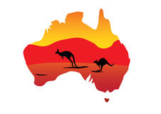 Australia map and two hopping kangaroo Stock Photos