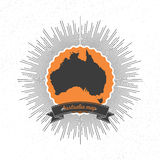 Australia map with vintage style star burst, retro Stock Photography