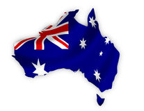 Australia map on a waving flag Royalty Free Stock Image