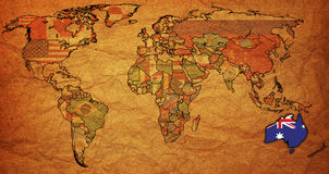Australia on map of world Stock Photo