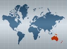 Australia on map of the world. (selected by orange stock illustration