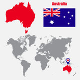 Australia map on a world map with flag and map pointer. Vector illustration Stock Photos