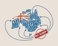 australia mapa dostawa uwalnia znaczek Zdjęcie Royalty Free