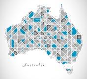 Australia mapy kryształu stylu grafika ilustracji