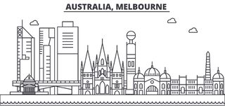 Australia, Melbourne architecture line skyline illustration. Linear vector cityscape with famous landmarks, city sights Royalty Free Stock Photos