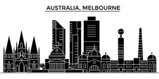 Australia, Melbourne architecture vector city skyline, travel cityscape with landmarks, buildings, isolated sights on vector illustration