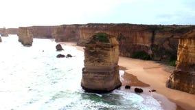 Australia Melbourne Ocean Road,. Australia, Melbourne, Ocean Road, view of the twelve apostles stock footage