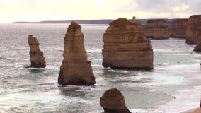 Australia Melbourne Ocean Road, the twelve apostles. Australia, Melbourne, Ocean Road, view of the twelve apostles stock footage