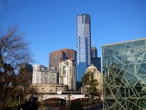 Australia, Melbourne, view of skyscrapers. Along the city streets royalty free stock images