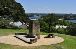 Australia, NSW, Sydney, Memorial. Australia, memorial and cannon in park of public Sydney observatorywith view to Parramatta river Royalty Free Stock Photo