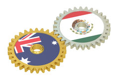 Australia and Mexico flags on a gears, 3D rendering Stock Images