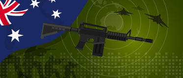 Australia military power army defense industry war and fight country national celebration with gun soldier jet fighter. And radar vector Stock Photography