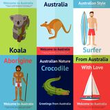 Australia Mini Poster Set Stock Images