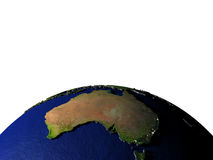 Australia on model of Earth with embossed land Stock Photo
