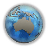Australia on model of planet Earth Stock Image