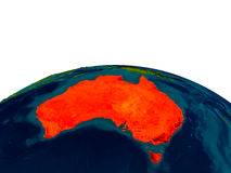 Australia on model of planet Earth Stock Images