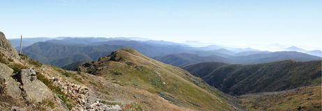 Australia Mountain Panorama 2. Mt Bogong, Melbourne, Victoria, Australia, high plains, summit, panorama, blue sky, mountain, view, alpine Royalty Free Stock Photography