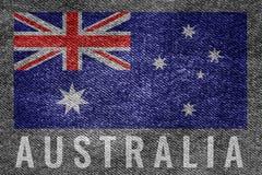 Australia nation flag on jean texture design Royalty Free Stock Photo