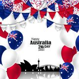 Australia National Day with Flags and Skyline. Australia Day. 26 January. National Flag Colors Balloons, Buntings, Confetti with Sydney Skyline.Architecture Stock Photography