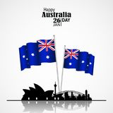 Australia National Day with Flags and Skyline. Australia Day. 26 January. National Flags with Sydney Skyline.Architecture silhouette. Postcard Design for card Stock Photos