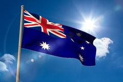Australia national flag on flagpole Royalty Free Stock Image
