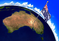 Australia national flag marking the country location on world map. 3D rendering Royalty Free Stock Photos