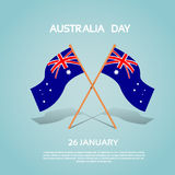 Australia National Two Flag Waving Flat Royalty Free Stock Photos