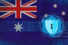 Australia network security. Computer defense concept. Stock Photo