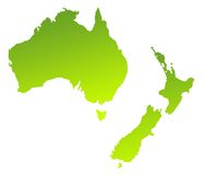 Australia and New Zealand. Green gradient map of Australia and New Zealand isolated on a white background