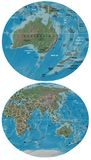 Australia New Zealand and Asia Oceania map Stock Photos