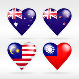 Australia, New Zealand, Malaysia and Taiwan heart flag set of national states vector illustration