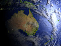 Australia and New Zealand on realistic model of Earth. Australia and New Zealand on model of Earth. 3D illustration with realistic planet surface. Elements of Stock Photo